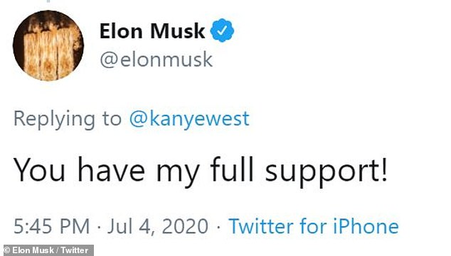 Billionaire Elon Musk also said West has his 'full support'