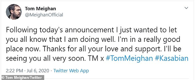 Opening up: Tom addressed fans on Twitter shortly after his departure was confirmed