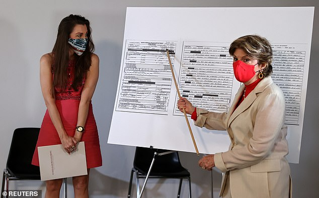 Arden (left) is pictured with lawyer Gloria Allred (right), who is pointing to the police report that Arden filed in 1997, after a meeting she allegedly had with Epstein in Santa Monica