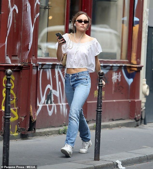 Understated:Lily-Rose Depp cut a casual figure as she stepped out in the French capital on Monday