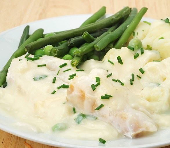 Cod mornay is pictured above. Made with a butter, cream and cheese sauce, this beats battered cod to the title of unhealthiest way to serve fish