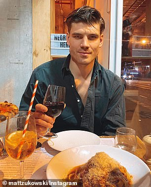 HIS: Matt shared a photo on a date night with his 'mystery woman', and an Aperol spritz was in view