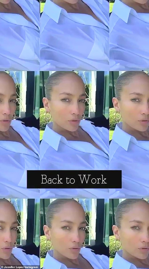The post on her Instagram Stories included the taglines: 'Monday' and 'back to work'