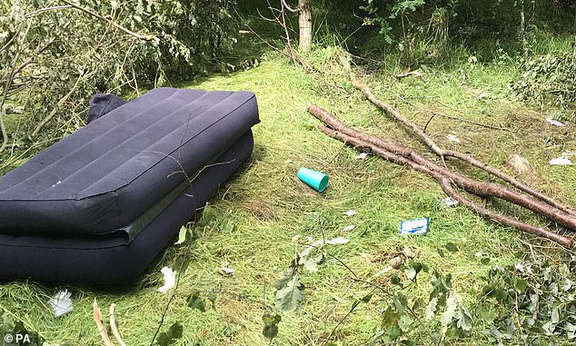 The Woodland Trust said there had been a surge of damaging behaviour at its more than 1,000 sites.The cost of clearing up the damage for the year is projected to be about £134,000. Fly-tipping at Hargate Forest in Kent is seen above