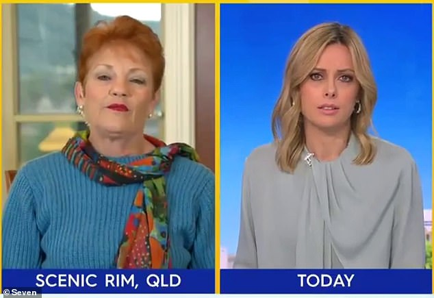 Controversial: On Monday, Pauline (left) was banned from Nine's Today show for branding residents of Melbourne's public housing towers 'drug addicts and alcoholics'. Pictured right is Today co-hostAllison Langdon