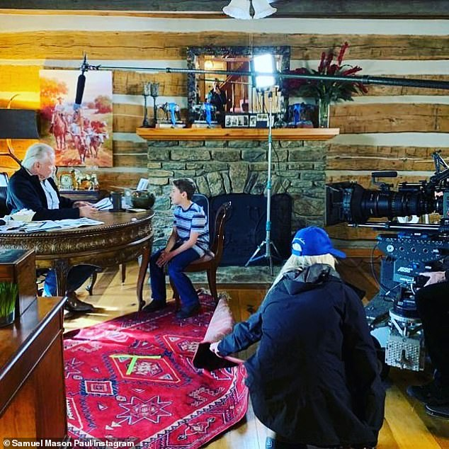 'On set': Voight will next reprise his role as rancher and ex-sheriff John Landsburg in Sean McNamara's 2020 sequel, JL Family Ranch 2, for Hallmark (pictured in 2019)