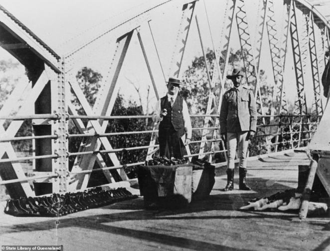 Rows of shoes on the Macintyre River Bridge at Goondiwindi, near the Queensland-NSW border, in 1919. This was the result of restrictions hampering interstate trade