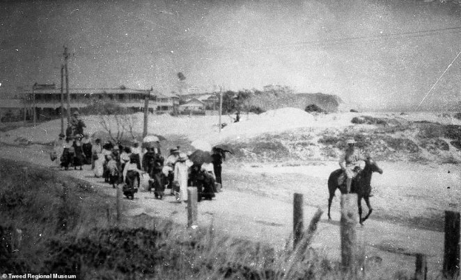 Women being marched to Rainbow Bay's quarantine camp during the Spanish Flu epidemic in 1919