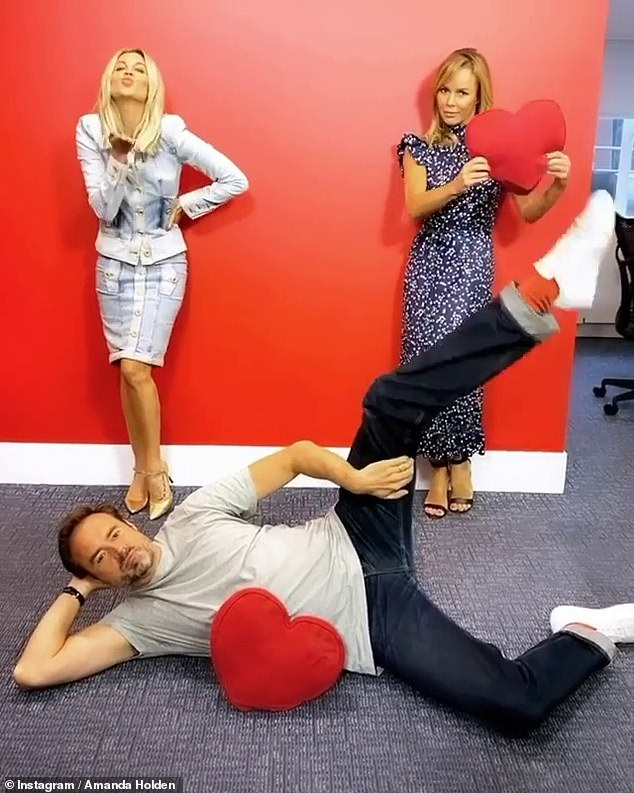 Not quite! During her time in the studios, Amanda and Ashley Roberts appeared in great spirits as they watched Jamie Theakston mimic Victoria Beckham's famous yoga pose