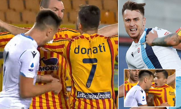 Lazio's Patric sent off for BITING Giulio Donati in his side's ...