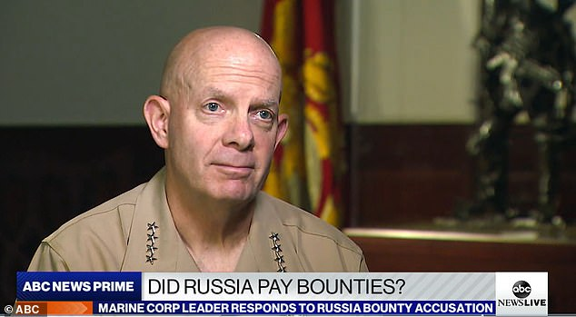 US Marine Corps Gen. David Berger told ABC News' Martha Raddatz he was not aware while in Afghanistan, of intelligence on Russia allegedly paying the Taliban to kill US service members