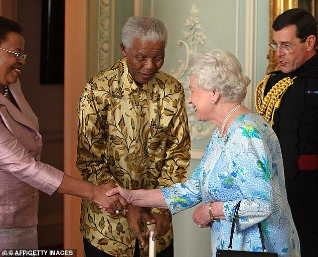 In 1994, when Nelson Mandela (pictured middle) was elected president of South Africa , one of his first tasks to resume its membership of the Commonwealth, which delighted the Queen (second right)