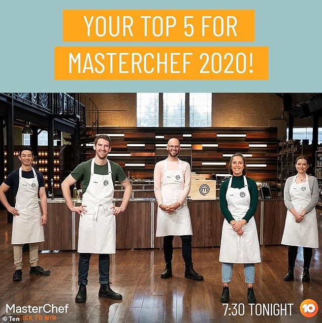 So close to the finish line! Reece has made it to the final five of MasterChef this year. He will battle against Laura Sharrad (second from right), Reynold Poernomo (left), Callum Hann (second from left) and Emelia Jackson (right) for the top spot and $250,000 cash prize