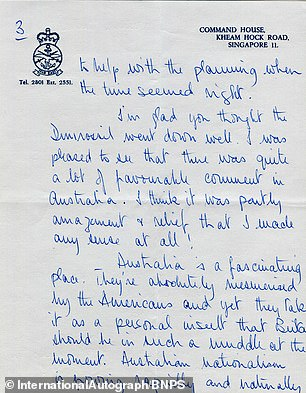 As the letter goes on sale, parts of the note have been published, including Prince Philip's comments that Australia is ''a fascinating place'