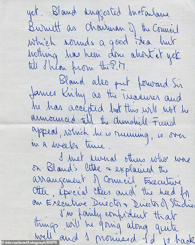 In the letter, which was penned in 1965, Prince Philip recounted meeting the Australian public servant Sir Henry Bland