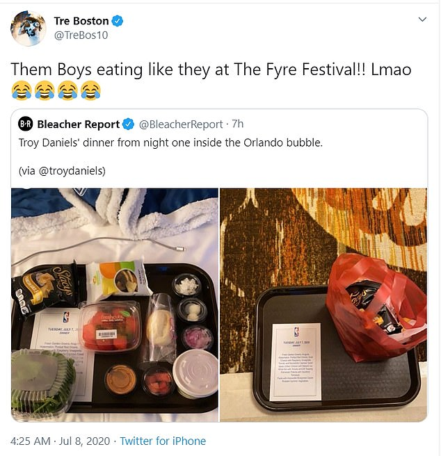 Many NBA fans took to social media to compare the food offerings to the ill-fated Fyre Festival