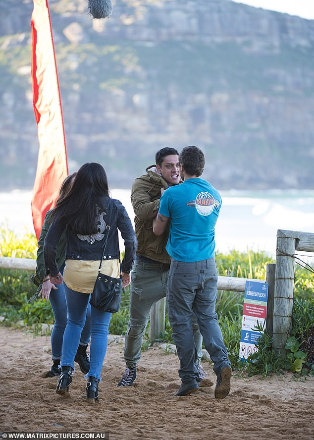 Showdown: Kawakawa Fox-Reo and Patrick O'Connor filmed an intense fight scene for Home and Away on Monday