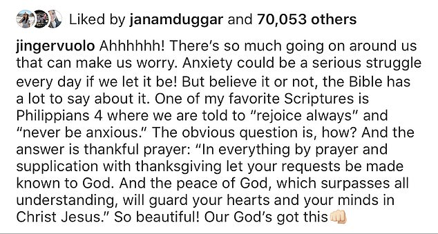 It's that easy!Jinger, who lives in LA with her husband Jeremy Vuolo, shared an Instagram post advising fans to pray away anxiety