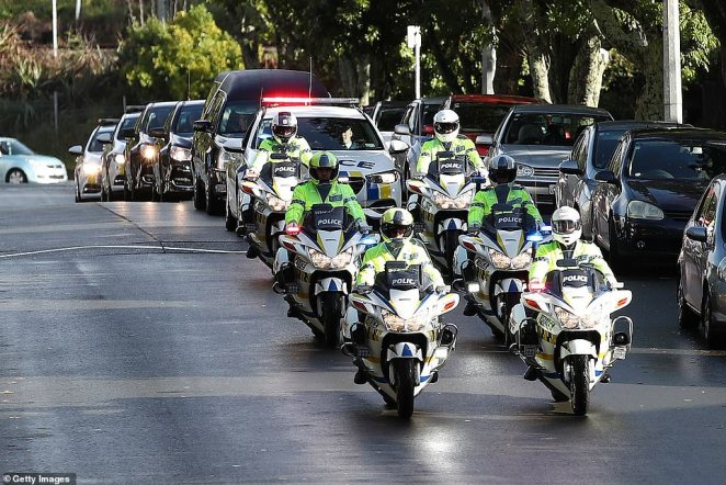 Mr Hunt's funeral was held on Thursday at Auckland'sEden Park and he was honoured by an NZ Police motorcade (pictured)