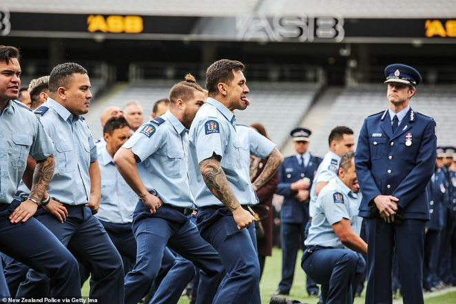 Pictured: Hundreds of New Zealand Police officers performed the haka to honour fallen colleagueConstable Matthew Hunt