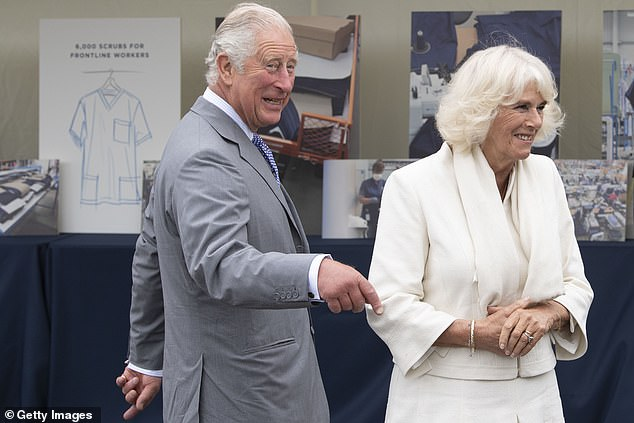 Prince Charles and Camilla (pictured) visited the shirt factory which hired new machines and produced medical-grade NHS scrubs for eight weeks amid the COVID-19 crisis