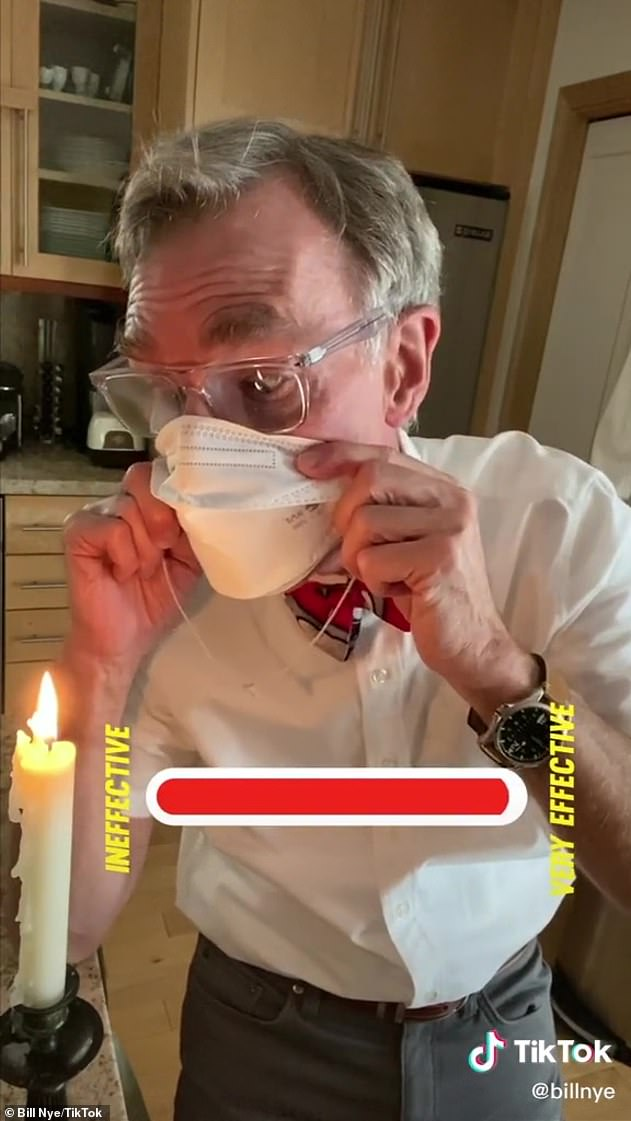 Heavy duty: He started playing with serious things, releasing a medical grade N-95 mask - which did nothing to sway the flame