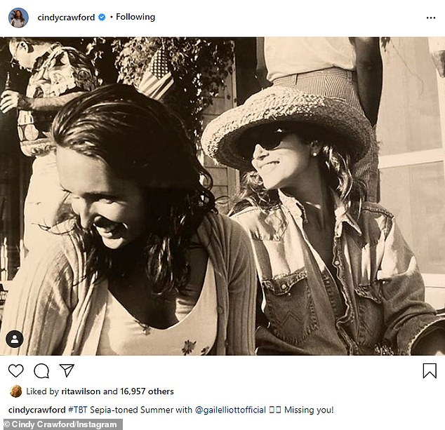 'Missing you!' Cindy shared a Throwback Thursday post about her British gal pal - Little Joe Woman designer Gail Elliott - who's vacationing in Bali with her husband Joe Coffey