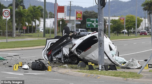 The car (pictured) clipped a roundabout before slamming into a light pole at around 4.30am on June 7