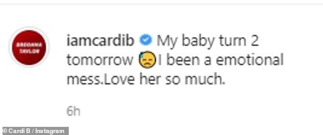 Mother's love:Captioning the images, Cardi, real name Belcalis Marlenis Almánzar, wrote: 'My baby turn 2 tomorrow. I been a emotional mess. Love her so much'