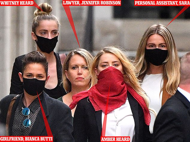 Amber and her squad: Amber Heard left court yesterday with her girlfriend Bianca Butti, left, her sister Whitney Heard, next to her partner, her lawyer in the green dress and her personal assistant Sara, seen far right