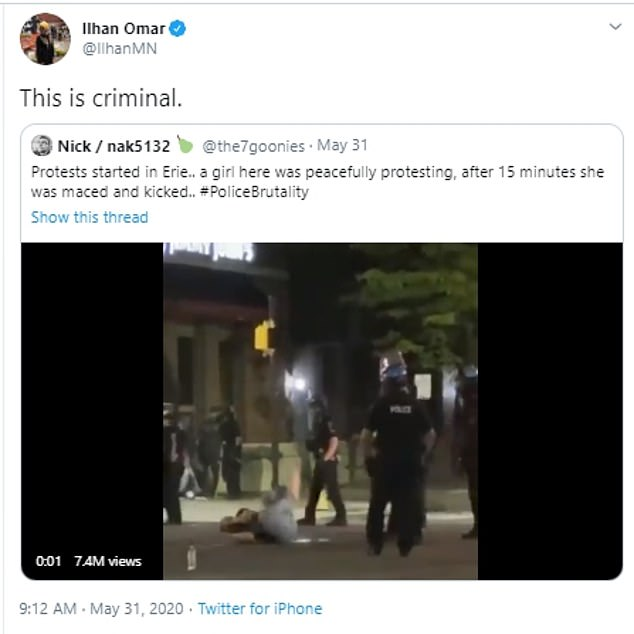 Congresswoman Ilhan Omar called the action 'criminal' on Twitter after footage of the kick went viral