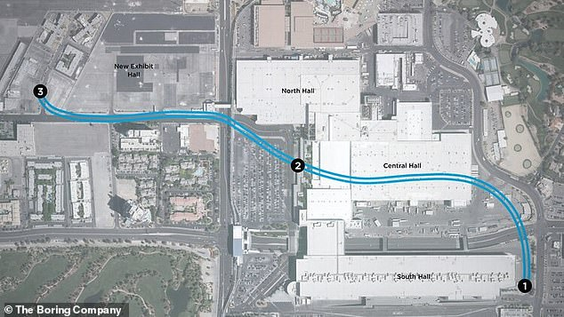 Musk founded The Boring Company in 2016 due to his experience with the never-ending, bumper-to-bumper traffic in Los Angeles, California. Pictured are plans for a tunnel under Las Vegas, Nevada