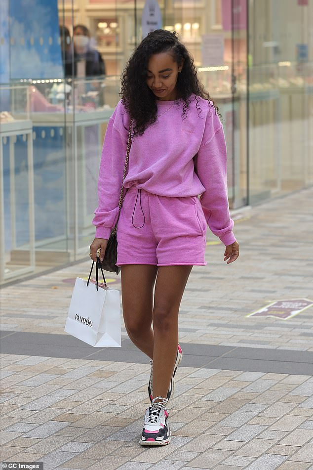 Legs 11!The Little Mix star, 28, rocked daytime casual in iets frans co-ords, including a pair of shorts which showcased her toned legs during the outing