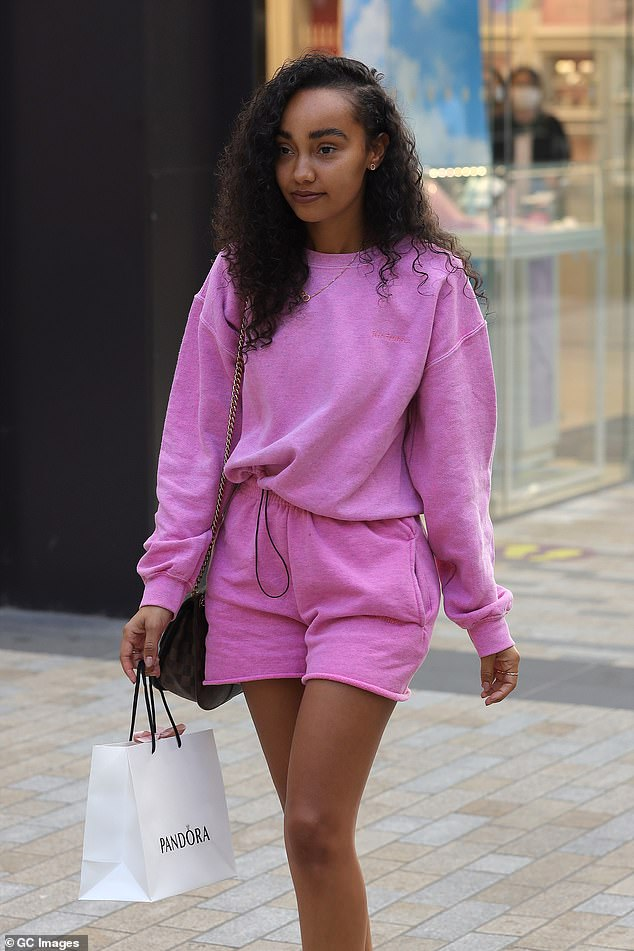 Casual:Leigh-Anne Pinnock made the most of the eased restrictions on Friday, as she hit the shops for a retail therapy session at the Lexicon Centre in Bracknell, Berkshire