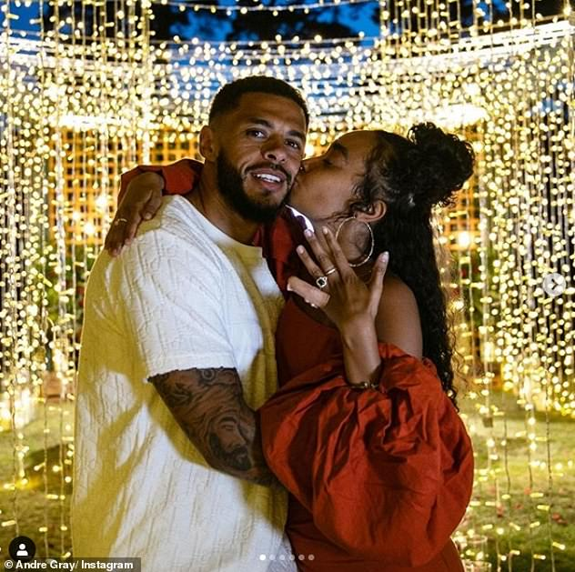 True love:It's been an exciting time for the singer, after she got engaged to footballer boyfriend Andre, 29, last month on their fourth anniversary
