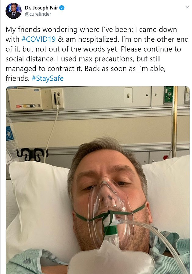 Fair announced that he was in hospital on May 13, tweeting that he believed it was COVID-19