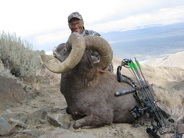 Palmer (pictured next to a sheep he killed in Nevada previously) admitted to killing Cecil the Lion in 2015