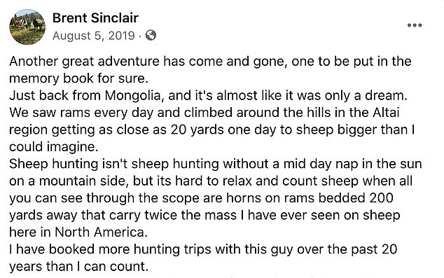 Palmer's friend Brent Sinclair shared a post on Facebook about the trip in Mongolia