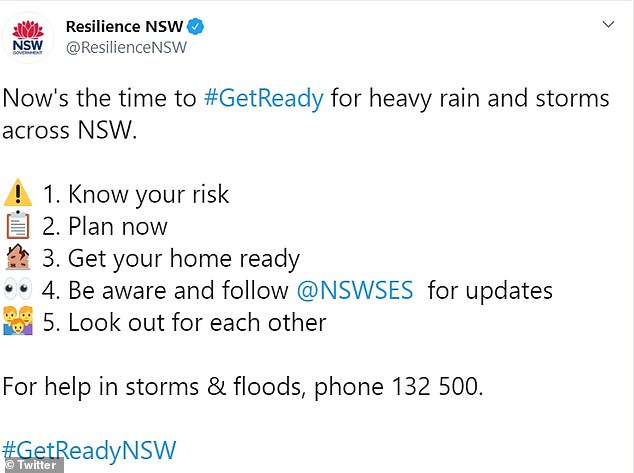 Bureau of Meteorology forecaster Abrar Shabren labelled the weather system as 'notorious' while the state's leading disaster management agency Resilience NSW tweeted a warning for residents to 'get ready'