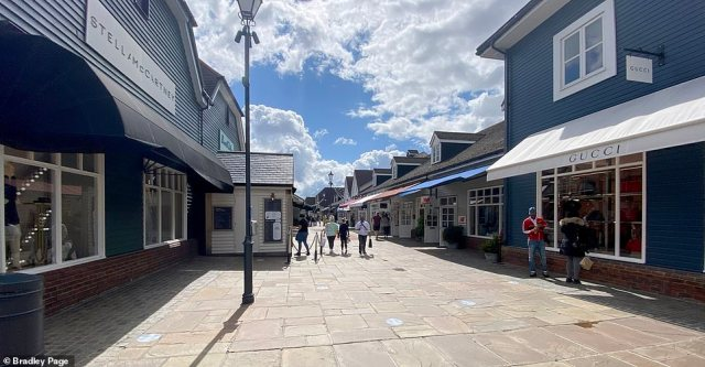 Plenty of room at the shops: Bicester Village in Oxfordshire is a mecca for bargain-hunters with its high-end retail outlets offering discounted prices. But the tills will hardly be ringing if customer numbers remain as they are now