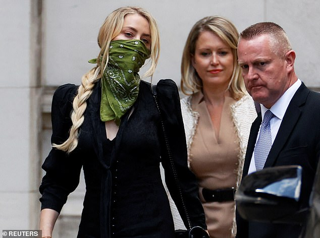 Actress Amber Heard, 34, pictured above leaving the High Court in London in July