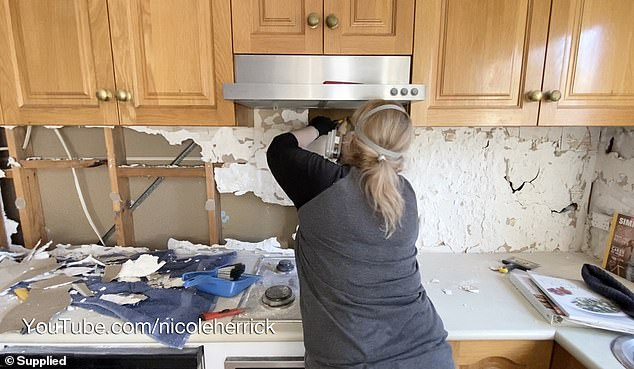 DURING:'My biggest spend was $500 on three slabs of Litestone from a home renovators' auction place,' she said