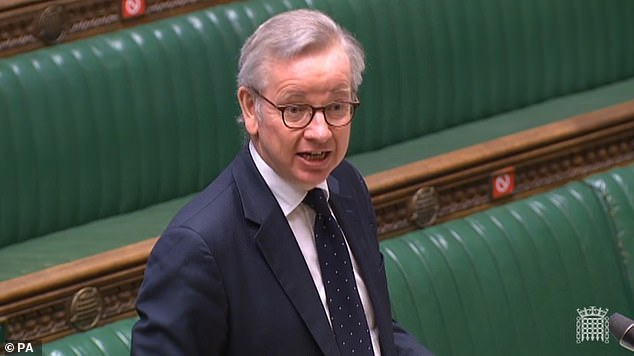 Michael Gove, above, will announce today he is spending more than £700 million to secure borders after the UK's Brexit transition period finishes at the end of the year