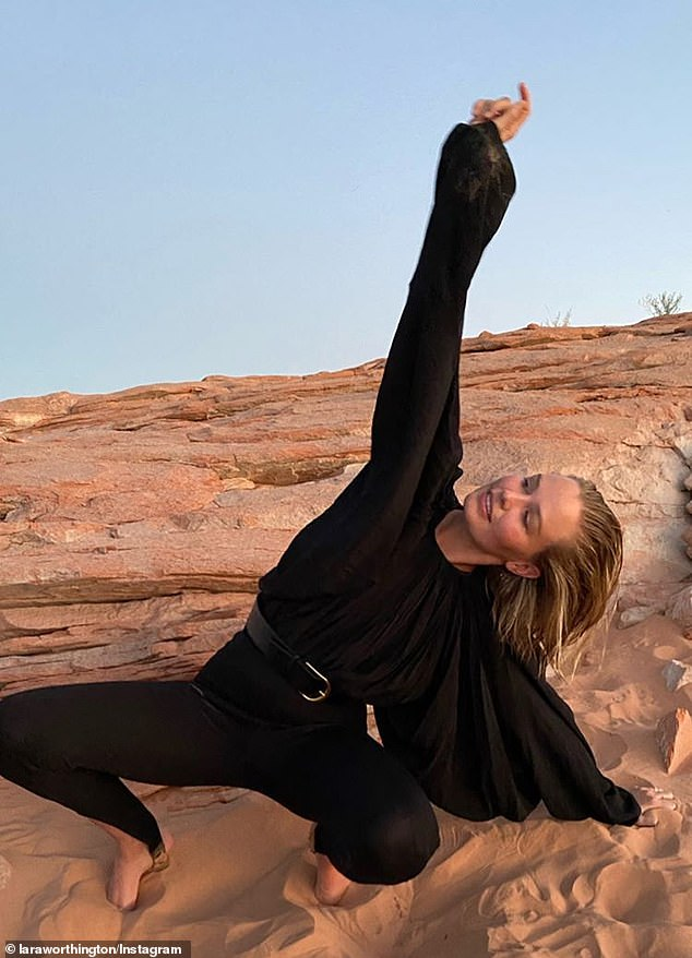 Yummy mummy! Makeup-free Lara Bingle, 33, showed off her incredible post-baby body in stunning self portraits in Utah on Saturday after the 'secret birth' of her third child with husband Sam Worthington