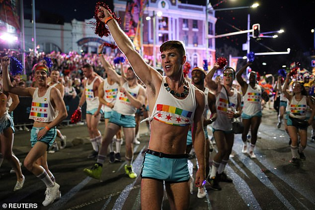 The parade at the 42nd anniversary of the Sydney Gay and Lesbian Mardi Gras Parade in Sydney in 2020