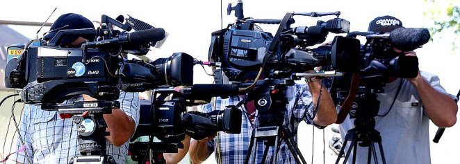 The media are pictured during a press conference about the search for Naya Rivera at Lake Piru in California on Saturday