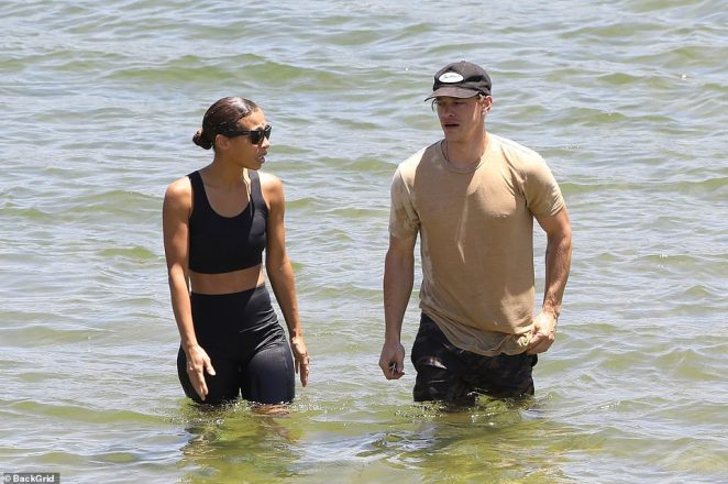 Ryan Dorsey appeared walking out of the lake with a family member of his ex-wife's, in tears
