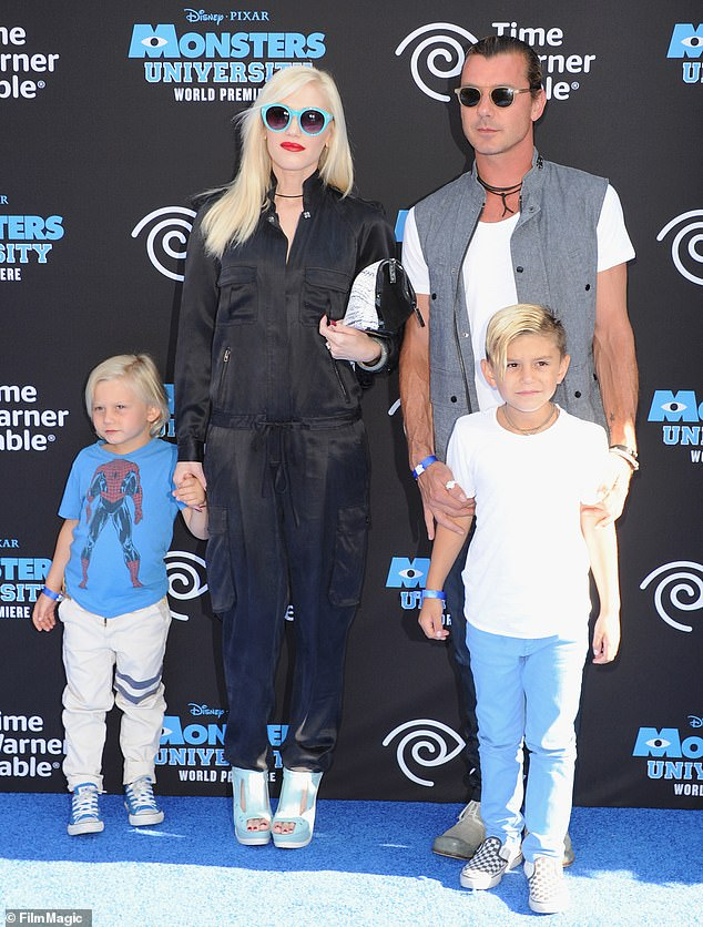 Former flame:Gavin was famously married to singer Stefani from 2002 to 2016, and they share sons Kingston, 13, Zuma, 11, and Apollo, six; Gavin and Gwen pictured in 2013 with their sons