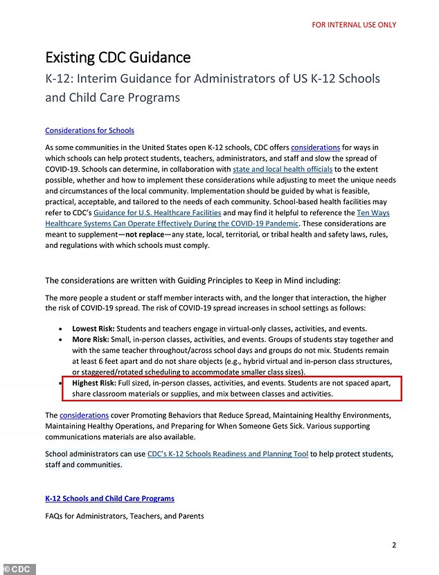Secret CDC document says full reopening of schools and ...