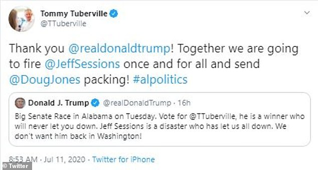Tuberville was quick to retweet Trump's post, thanking him for the endorsement